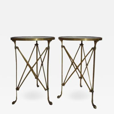 Maison Jansen Pair of French Brass Neoclassical Gueridon Tables in the Jansen Manner