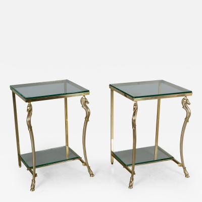 Maison Jansen Pair of French Maison Jansen Brass Side Tables