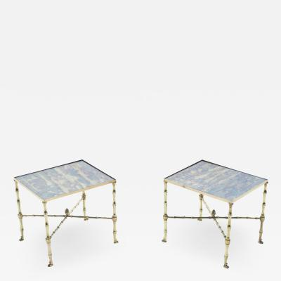 Maison Jansen Pair of French Maison Jansen brass mirrored end tables 1960s