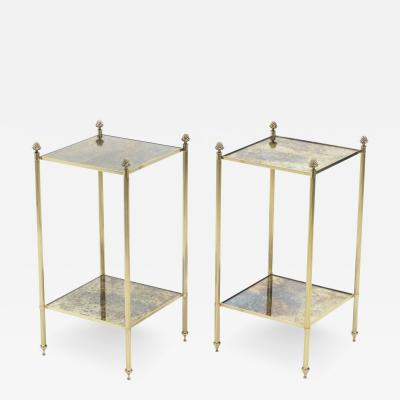 Maison Jansen Pair of French Maison Jansen brass mirrored two tier end tables 1960s