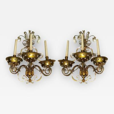 Maison Jansen Pair of French Modern Neoclassical Brass and Crystal Sconces by Maison Jansen