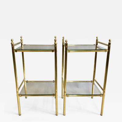 Maison Jansen Pair of French Modern Neoclassical Double Level Brass Side Tables Maison Jansen