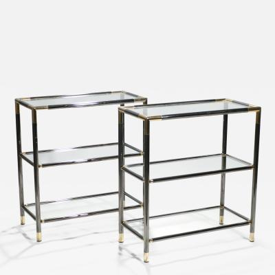 Maison Jansen Pair of French gunmetal and brass three tiered shelves 1970s
