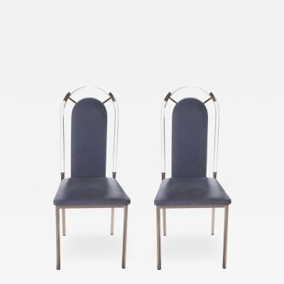 Maison Jansen Pair of Lucite and gunmetal chairs by Maison Jansen 1970s