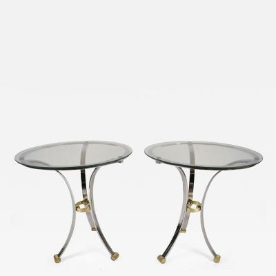 Maison Jansen Pair of Maison Jansen Round Chrome and Brass End Tables