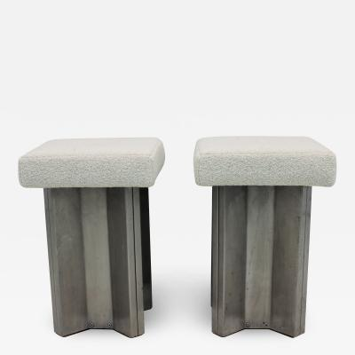 Maison Jansen Pair of Maison Jansen Stainless Steel Stools France 1970s