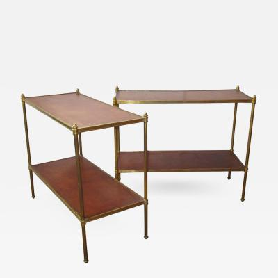 Maison Jansen Pair of Maison Jansen Style Brass and Leather End Tables