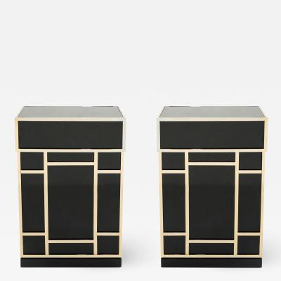 Maison Jansen Pair of Maison Jansen brass black lacquered dry bar elements 1970s