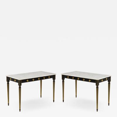 Maison Jansen Pair of Marble Topped Ebonized and Giltwood Consoles by Jansen