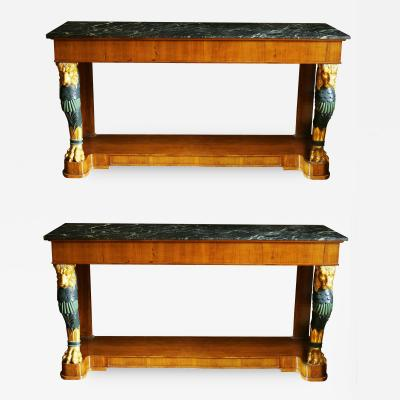 Maison Jansen Pair of Mid 20th Century Regency Style Console Tables with Gilt Monopedia