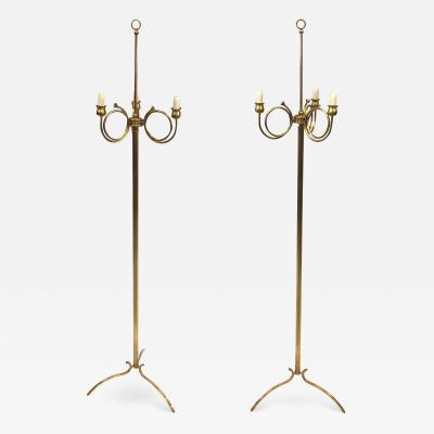 Maison Jansen Pair of Mid Century Modern Neoclassical Brass Floor Lamps by Maison Jansen