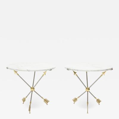 Maison Jansen Pair of Neoclassical Maison Jansen brass marble arrows gueridon tables 1970s