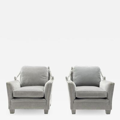 Maison Jansen Pair of Neoclassical grey velvet Maison Jansen armchairs 1970s
