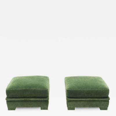 Maison Jansen Pair of Neoclassical ottomans by Maison Jansen green velvet 1970s