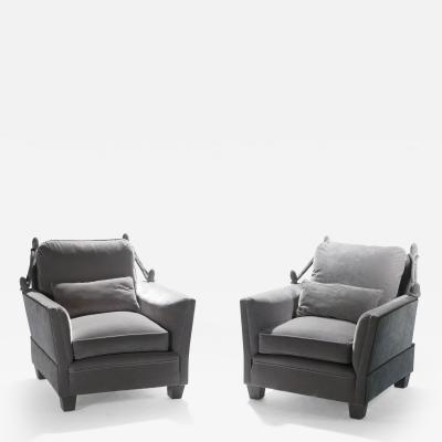 Maison Jansen Pair of Neoclassical velvet Maison Jansen armchairs 1970s