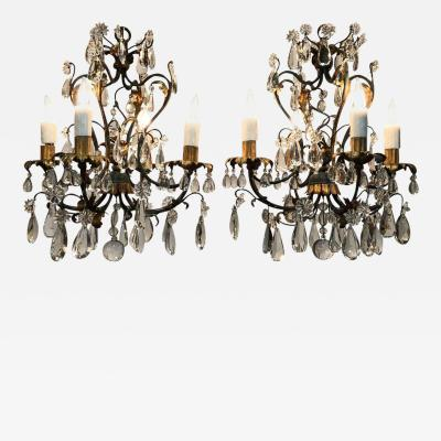 Maison Jansen Pair of Petite French Maison Jansen Style Iron Tole and Crystal Chandeliers