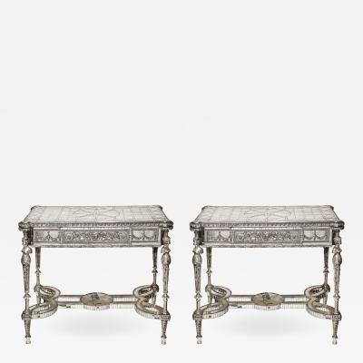 Maison Jansen Pair of Rare Jansen Antique French Louis XVI Silvered Bronze and Mirrored Tables