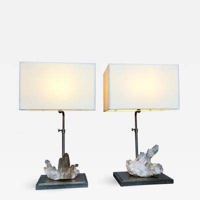 Maison Jansen Pair of Rock Crystal Quartz Lamps France 1970s