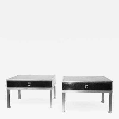 Maison Jansen Pair of Small Side Tables with Drawer by Maison Jansen