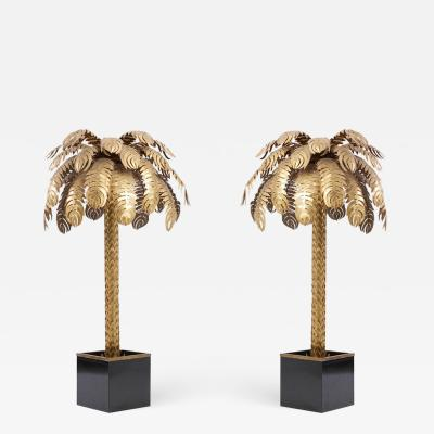 Maison Jansen Pair of Very Impressive Brass Palm Floor Lamps by Maison Jansen