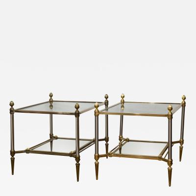 Maison Jansen Pair of XXth Century Maison Jansen Brass Chrome Two Tier Side Tables
