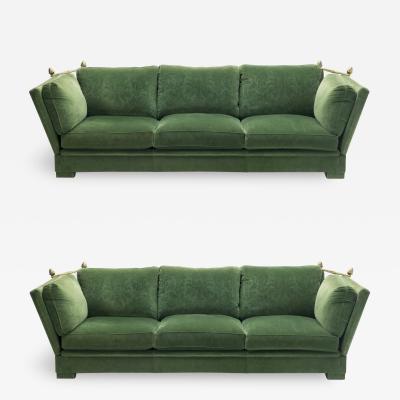 Maison Jansen Pair of large Neoclassical Maison Jansen sofas original green velvet 1970s