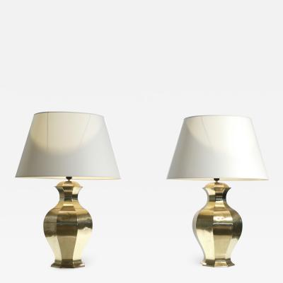 Maison Jansen Pair of large french brass table lamps 1970s