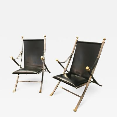 Maison Jansen Pair of polished steel and leather folding chairs in the style of Maison Jansen