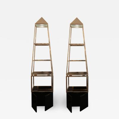 Maison Jansen Pair of pyramid shelves Maison Jansen circa 1970