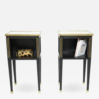 Maison Jansen Pair of stamped Maison Jansen black brass marble nightstands 1950s