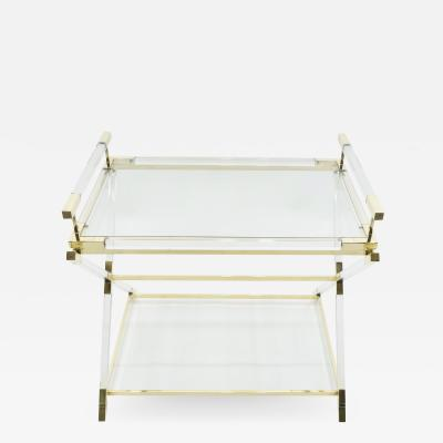 Maison Jansen Rare French side tray table lucite and brass Maison Jansen 1970s