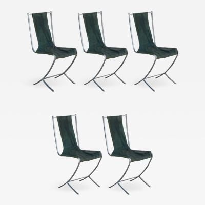 Maison Jansen Rare Set of Five Stainless Steel Chairs by Maison Jansen