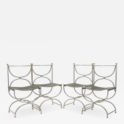 Maison Jansen Rare Set of ten Mid Century steel brass leather chairs Maison Jansen 1960s