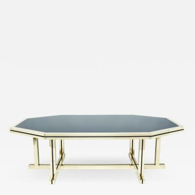 Maison Jansen Rare brass black opaline glass Maison Jansen dining table 1970s