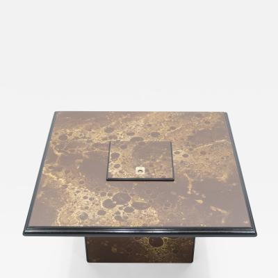 Maison Jansen Rare golden lacquer and brass Maison Jansen bar coffee table 1970s
