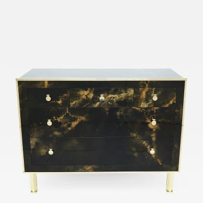 Maison Jansen Rare golden lacquer and brass Maison Jansen chest of drawers 1970s