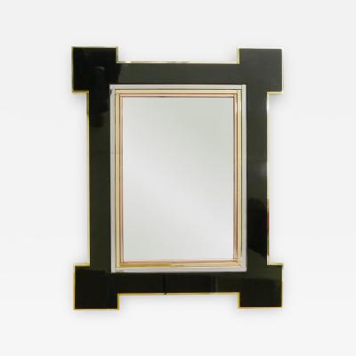 Maison Jansen Rare mirror by Alain Delon for Maison Jansen Lacquer and brass 1975