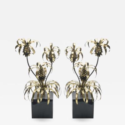 Maison Jansen Rare pair of Hollywood Regency brass Maison Jansen Pineapple floor lamps 1970s