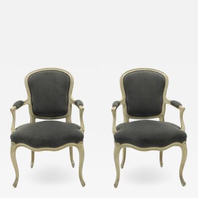 Maison Jansen Rare pair of stamped Maison Jansen Louis XV neoclassical armchairs 1940s