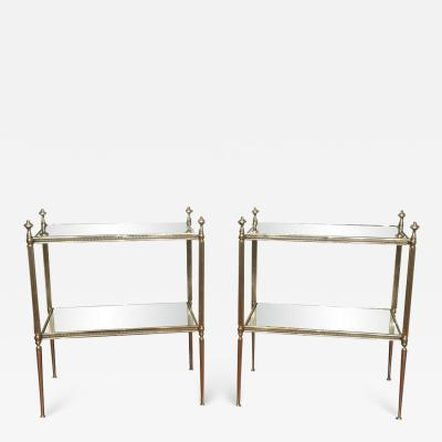Maison Jansen SALE 40 OFF PAIR OF MAISON JANSEN SILVERED END TABLES WITH MIRRORED SHELVES