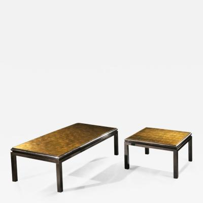 Maison Jansen Set of 2 French Verre glomis Coffee Tables by Guy Lefevre for Maison Jansen