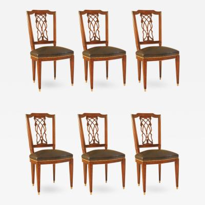 Maison Jansen Set of Six Dining Chairs with Lattice Back Detail Signed Jansen