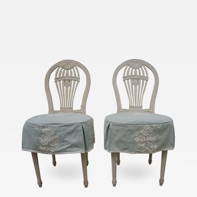 Maison Jansen Set of Six Gustavian Style Balloon Back Chairs