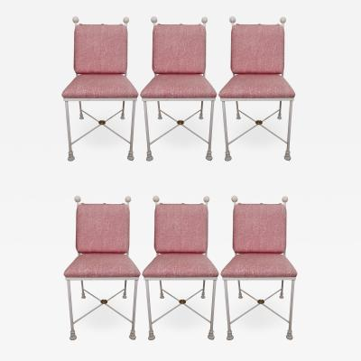 Maison Jansen Set of Six Painted Metal Dining Chairs