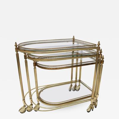 Maison Jansen Set of Three Brass Nesting Tables in the Style of Maison Jansen Italy 1960s