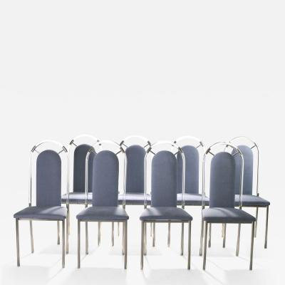 Maison Jansen Set of eight chairs plexiglass and gunmetal by Maison Jansen 1970s