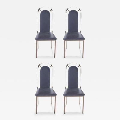 Maison Jansen Set of four chairs Lucite and gunmetal by Maison Jansen 1970s