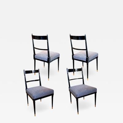 Maison Jansen Set of four lacquered Neoclassical side chairs by Maison Jansen