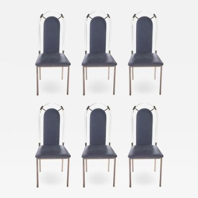 Maison Jansen Set of six chairs Lucite and gunmetal by Maison Jansen 1970s
