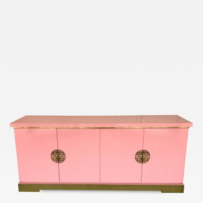 Maison Jansen Sideboard Lacquered and Brass Japanese Style by Maison Jansen France 1970s